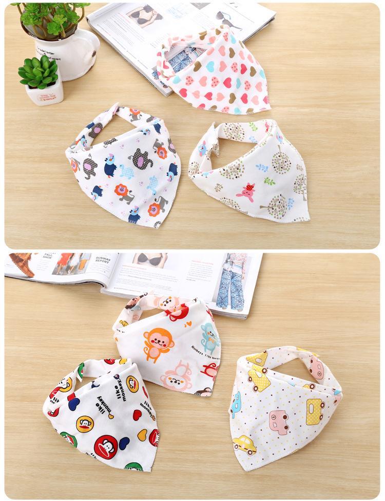 Set 3 khăn yếm tam giác 2 lớp cotton có cúc bấm cho bé