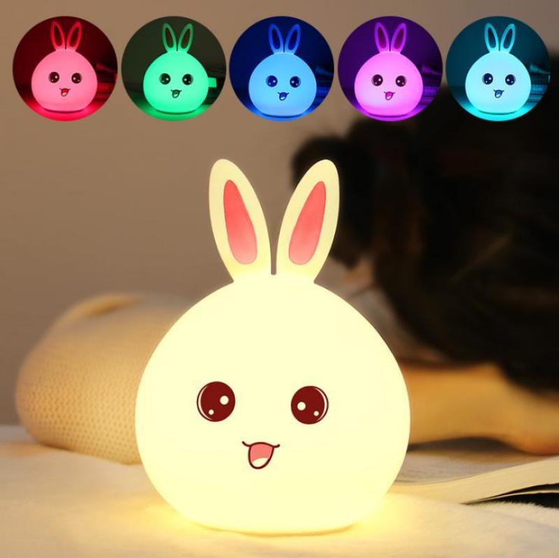 Bảng giá Đèn ngủ dễ thương hình thỏ (Led đổi màu) silicon dẻo cao cấp