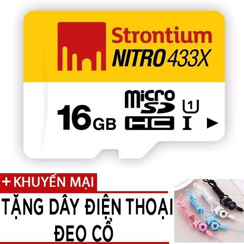 Thẻ nhớ MicroSDHC Strontium Nitro 16GB class 10 tốc độ 433x tặng dây đeo điện thoại
