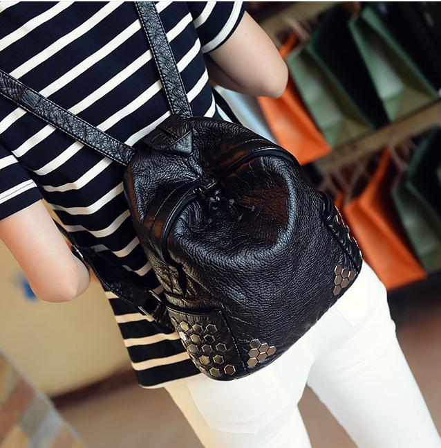 Tas Ransel Wanita Paku Keling Santai Versi Korea (hitam) (hitam) By Koleksi Taobao.