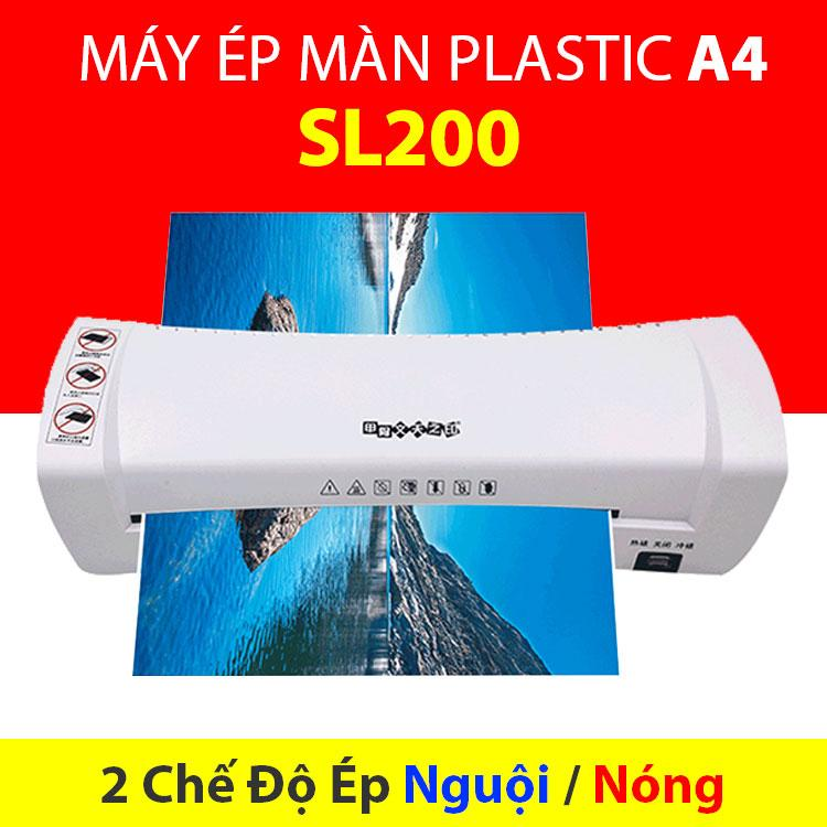 Máy Ép Nhựa Plastic, Máy Ép Màn Plastic SL200 Khổ A4 + Màn Ép 100 Tờ