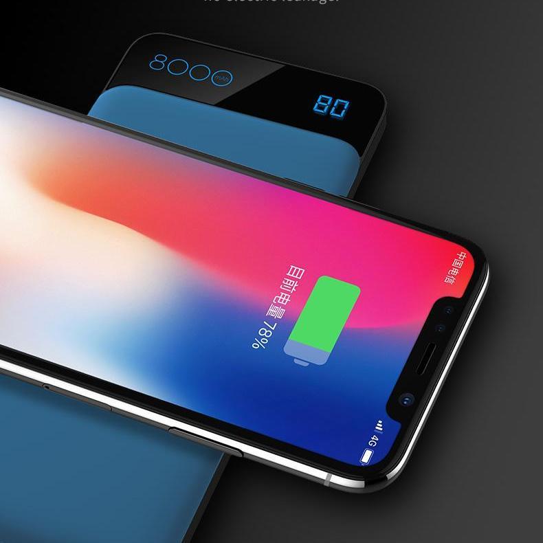 Hình ảnh Sạc nhanh không dây chuẩn Qi kiêm pin dự phòng 8000 mAh cho các dòng smartphone Iphone 8, iphone X, Note8 Rockspace P39