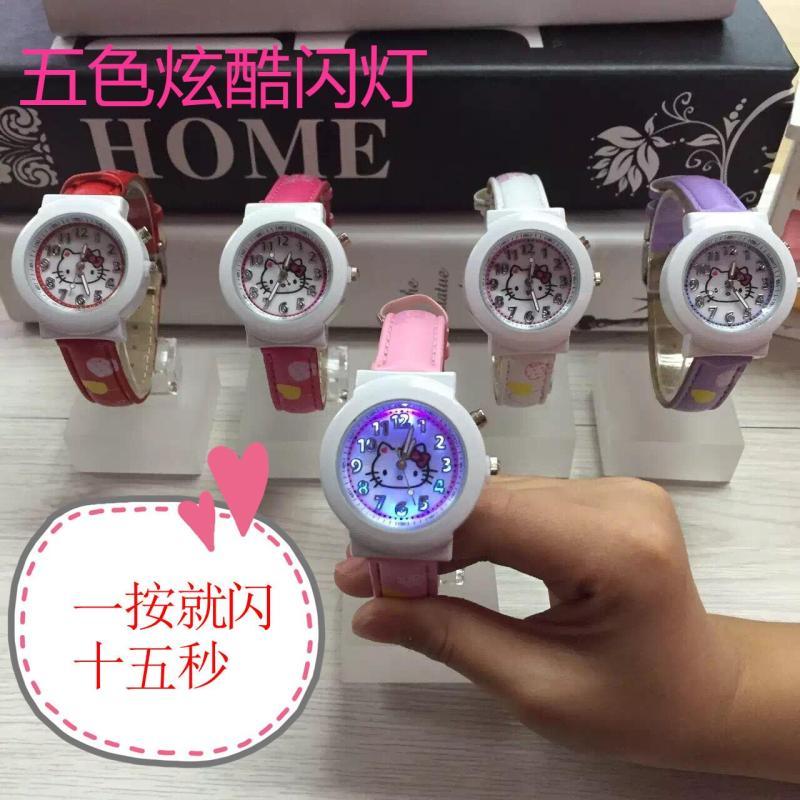 Hellokitty Hello Kitty Cat KT Caterpillar Student Cool Colored Flashlight Belt Watch Malaysia