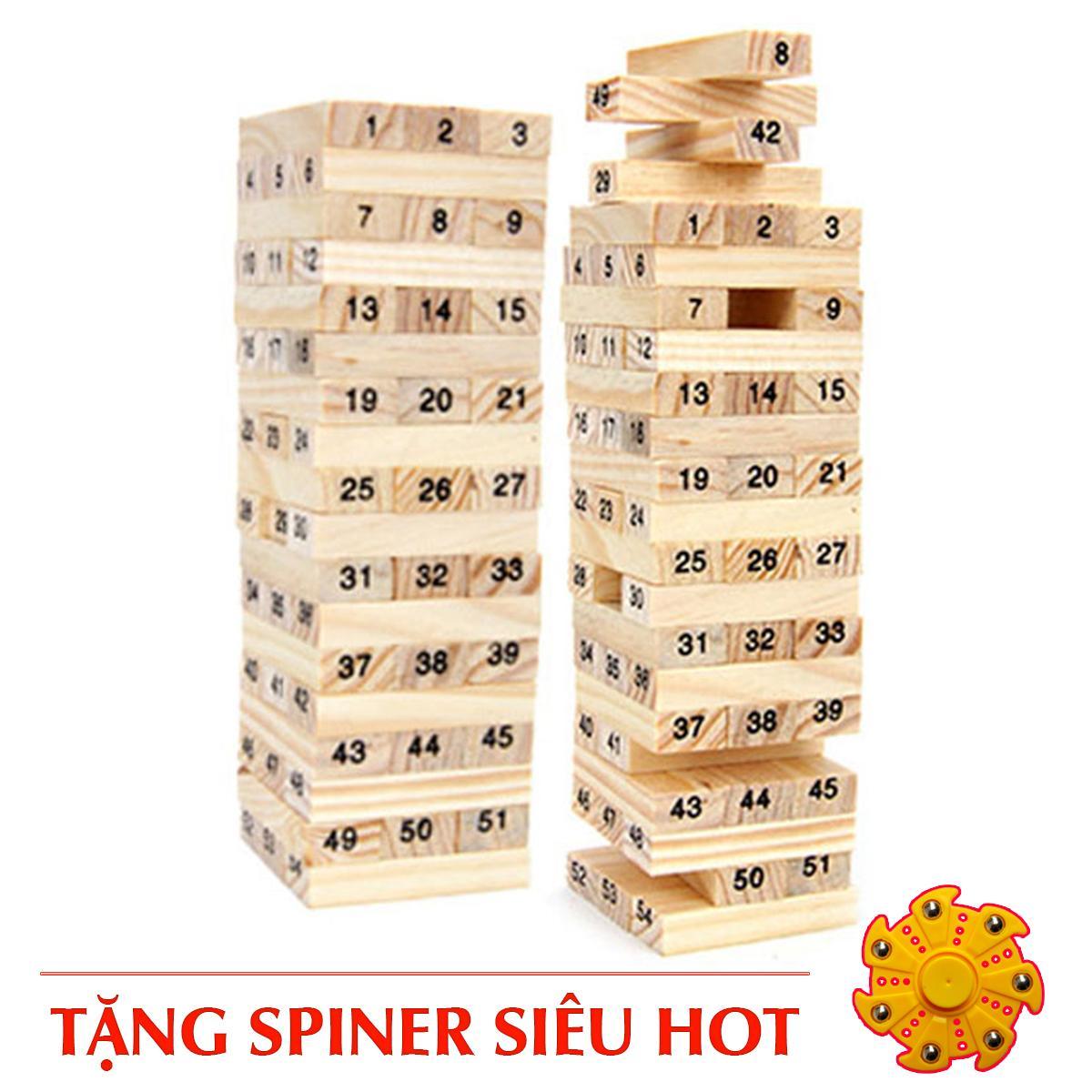 Hình ảnh Bộ đồ chơi rút gỗ 54 thanh + 4 xúc xắc+Tặng spiner siêu hot(Bo rut go+spiner)