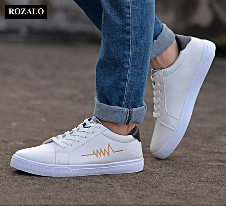Giày da nam thời trang đế bằng dây buộc Rozalo RW3519