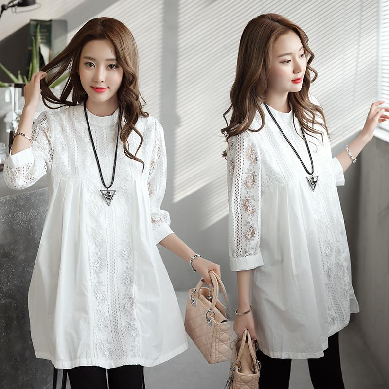 29e98215935 South Korea Maternity Clothes Spring Clothing Mid-length Loose Tops Fashion  Large Size Pregnant Women