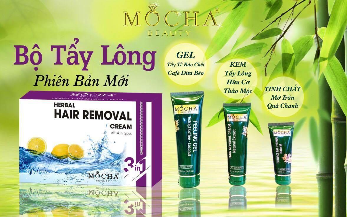 Hình ảnh Kem Tẩy Lông Thảo Mộc Cao Cấp Mocha Herbal Hair Removal (Bộ 3 chai)