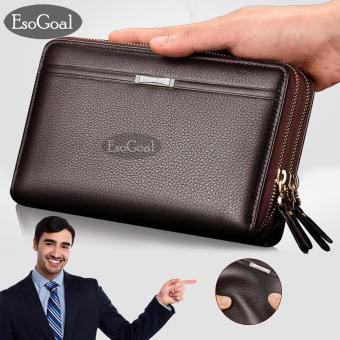 EsoGoal Men Clutch Bag Long Purse PU Leather Wallet Lichee Handbag Double Zippers Bag Long Zipper Wallet  NEW Professional Men Fashion Leather Hand Bag