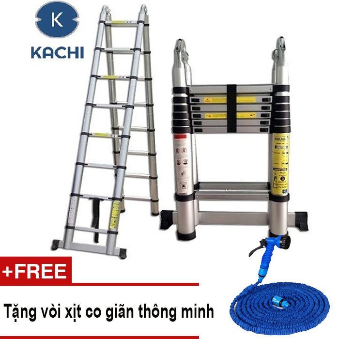 Thang nhôm rút chữ A 3m8 Kachi MK02 + Tặng vòi xịt co giãn