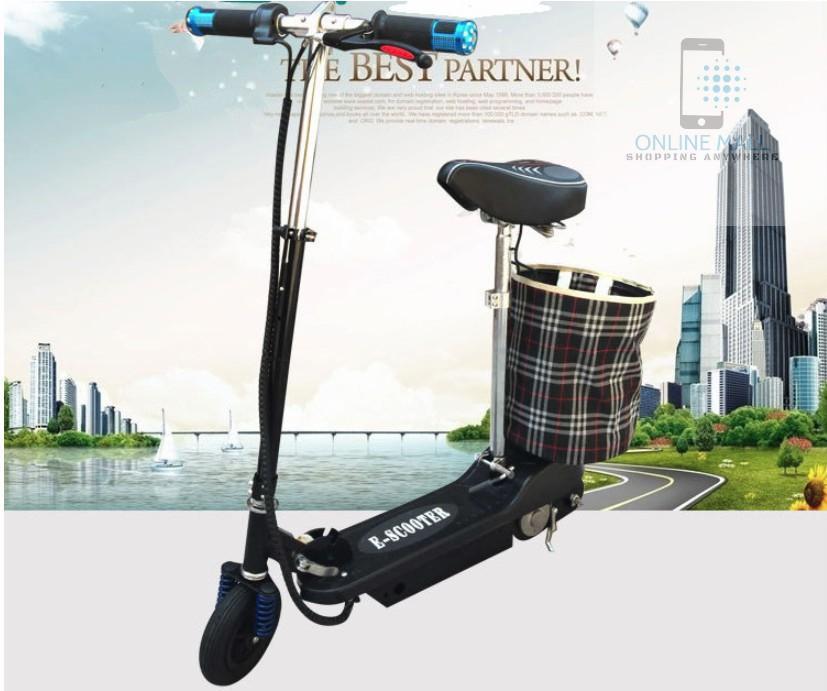 Xe scooter điện tốc độ tối đa 15km/h, tải trọng 75kg (Đen)