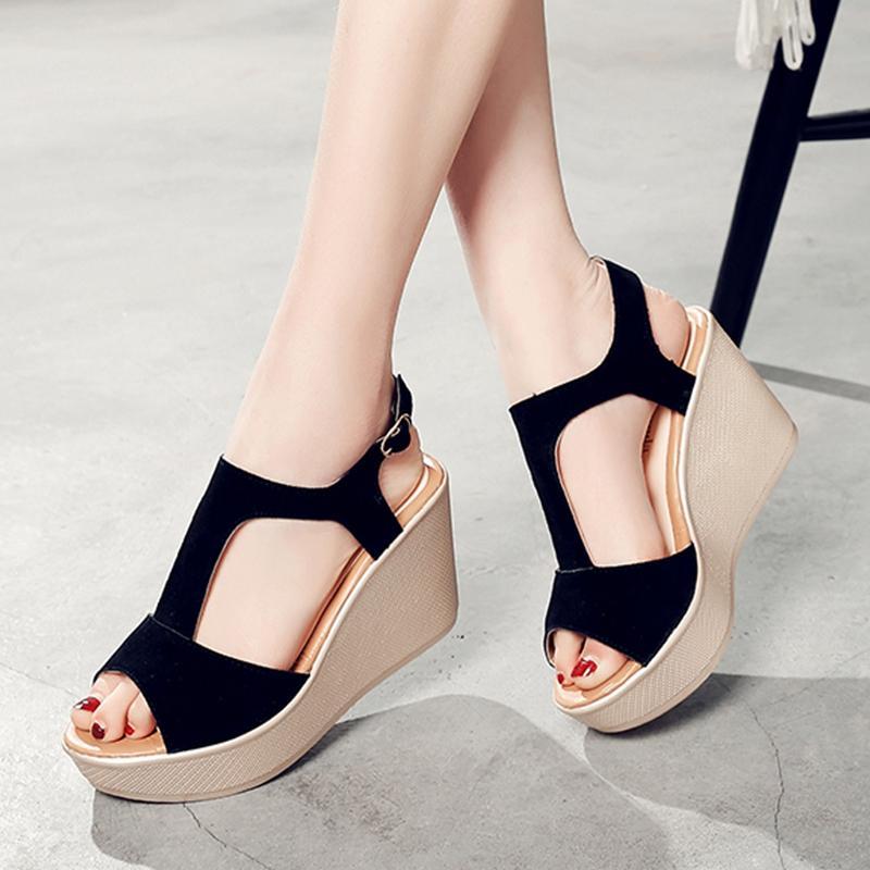 eb6d64278ba6 2018 New Style Wedge Sandal Female Summer Korean Style Fashion Harajuku  Thick Bottomed Platform Shoes Women s