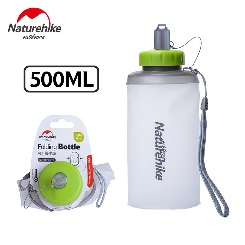 NatureHike 500ML Mini Sports Bottle Water Bottles Outdoor Cup Portable Silicone Foldable Drinkware With Straw NH61A065