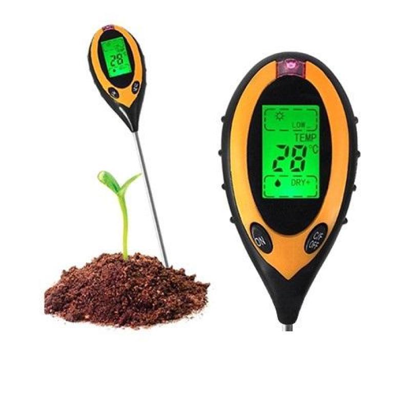 Dụng cụ đo độ PH 4 trong 1, đo độ PH, độ ẩm đất, đo ánh sáng, nhiệt độ
