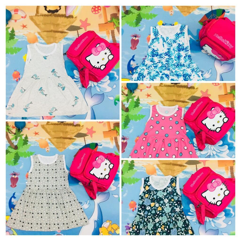 Giá bán Combo 5 Váy bé gái chất cotton cho bé 1 tuổi mầu sắc bất kỳ (VAY05- Size 1)