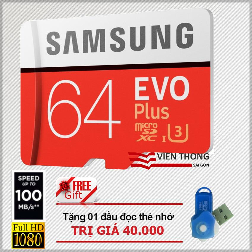 Bán Thẻ Nhớ 64Gb Micro Samsung Evo Plus U3 Up To 100Mb S Đỏ Tặng 01 Đầu Đọc Thẻ Nhớ Micro Pt Samsung Trong Hồ Chí Minh