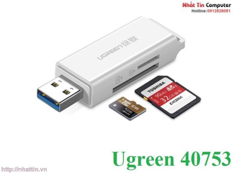 Đầu đọc thẻ SD/TF chuẩn USB 3.0 Ugreen 40753 chính hãng
