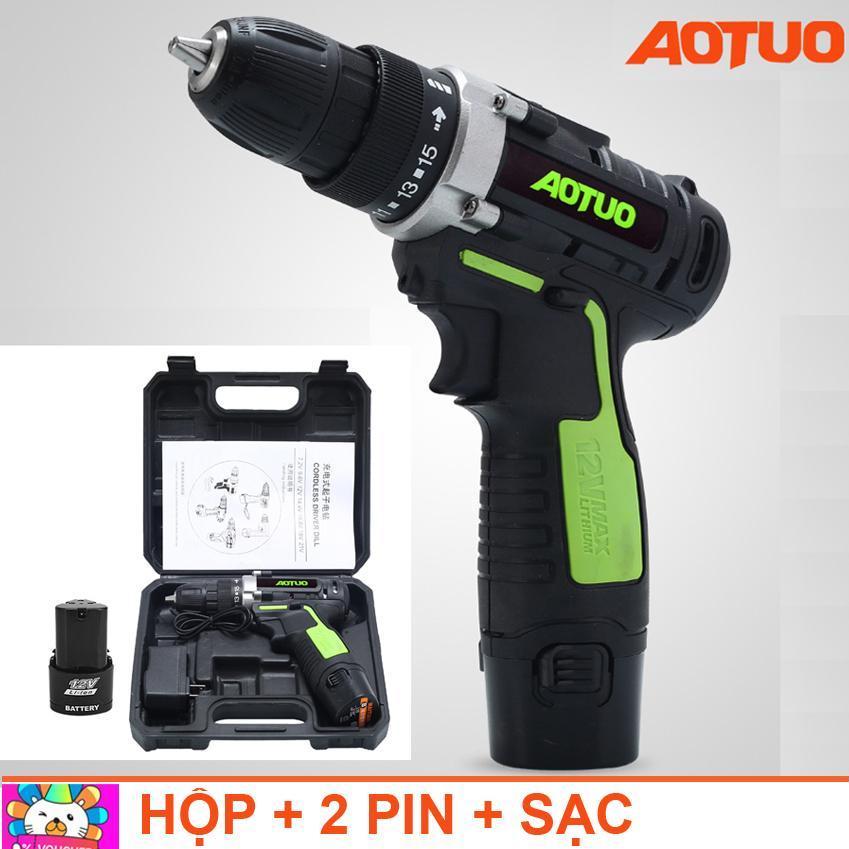 Máy khoan vặn vít không dây đảo chiều Aotuo 12V - (xanh lá) Kèm 2 pin và hộp