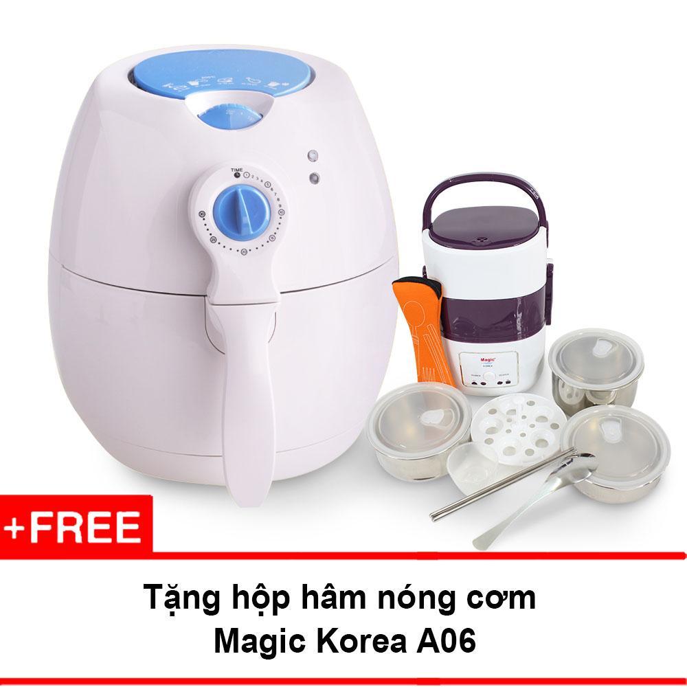 Ôn Tập Nồi Chien Chan Khong Đa Năng Magic Korea A70 New Trắng Tặng Hộp Nấu Va Ham Nong Cơm Magic Korea Magic
