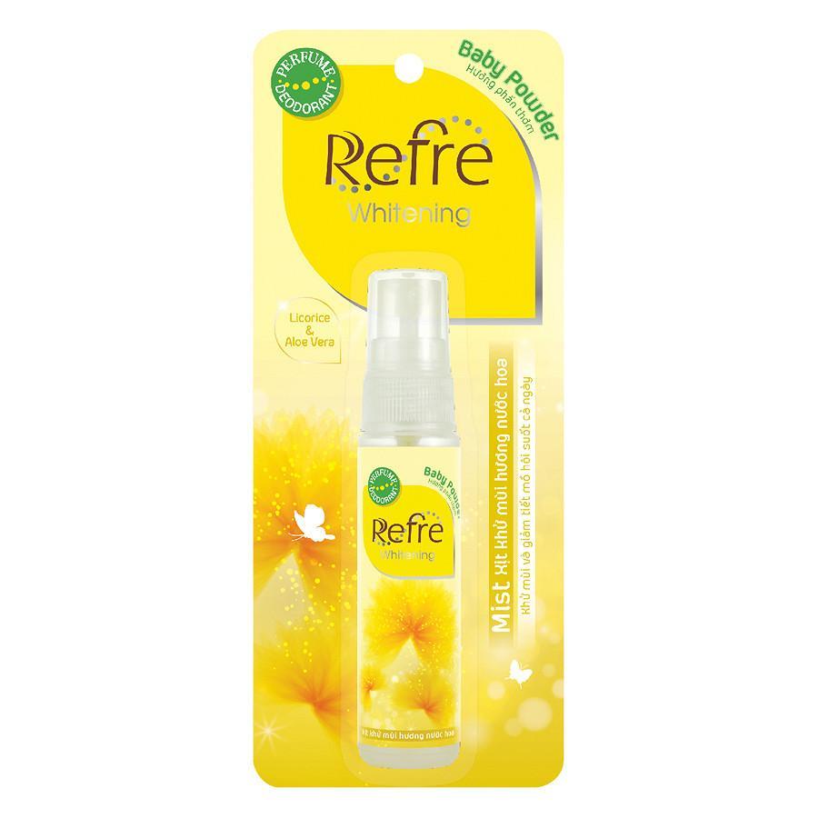 Xịt khử mùi hương nước hoa Refre Whiterning Baby Powder (Hương phấn thơm) 30ml