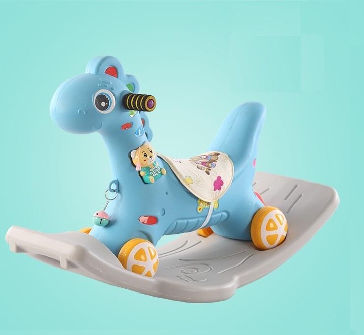 Hình ảnh Ngựa bập bênh cho bé có bánh xe có đèn có nhạc (xanh,hồng)