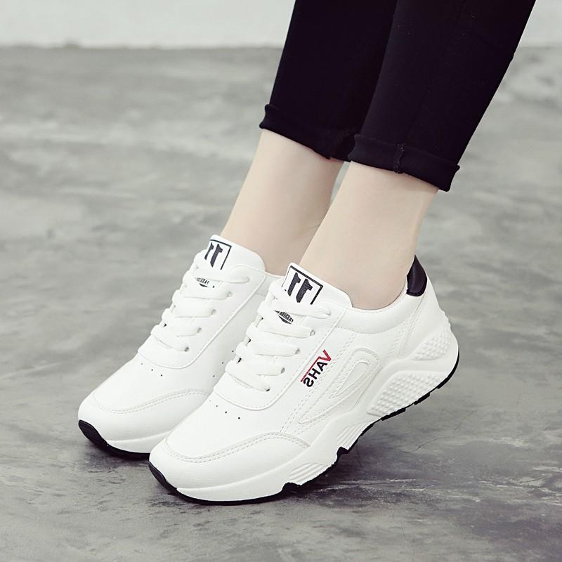 Hình ảnh Giày thể thao nữ sneaker mới 2018 - VAHS thân trắng đế đen Giày nữ trắng thể thao Giày nữ rẻ