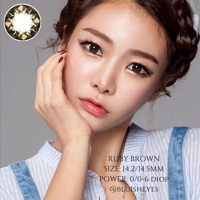 Hình ảnh COMBO 4 Full: NƯỚC NGÂM + LENS + NHỎ MẮT Kính áp tròng - Lens NÂU Hàn Quốc