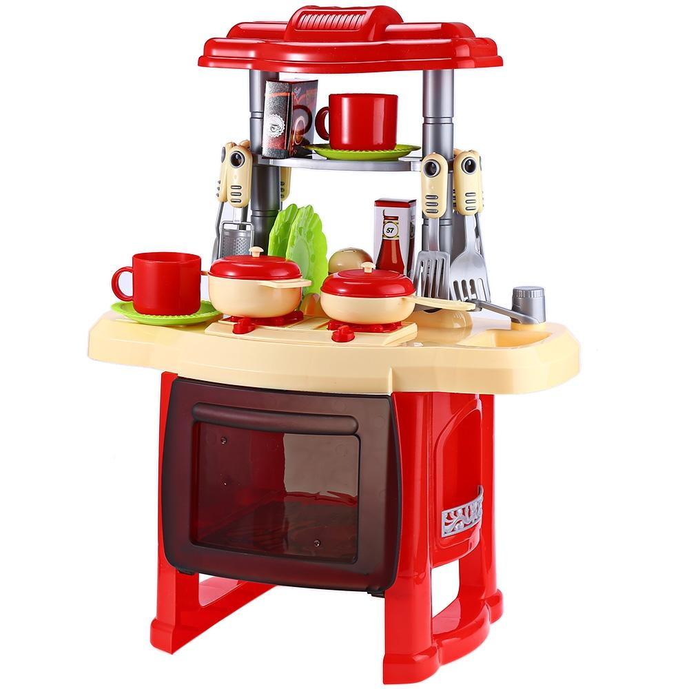 Hình ảnh Kids Simulation Kitchen Cookware Pretend Role Play Toy with Music Light (Red) - intl