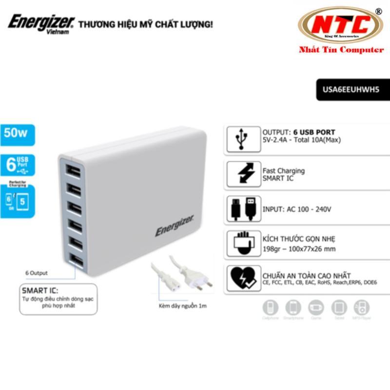 Cốc sạc 6 cổng USB Energizer 10A 50W HT - USA6EEUHWH5 (Trắng) - Hãng phân phối chính thức