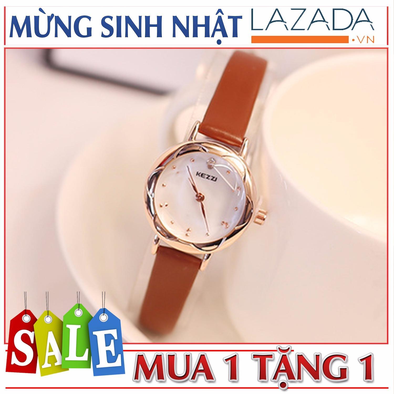 Giá Bán Đồng Hồ Nữ Kezzi Kzi770 Mua 1 Tặng 1 Mặt Kinh Đuc 3D Day Da Mềm Mịn Kezzi