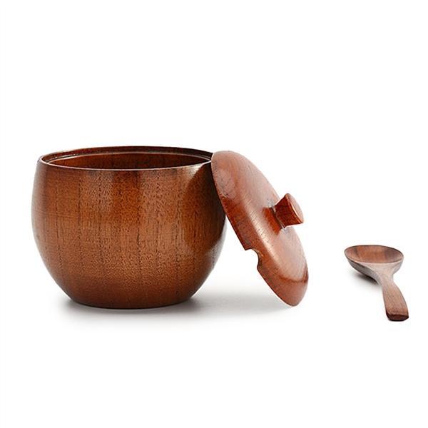 Kayu Alami Peralatan Makan Toples Bumbu Bumbu Pasokan Dapur Panci Saus dengan Mangkuk Bertutup Pengocok Garam