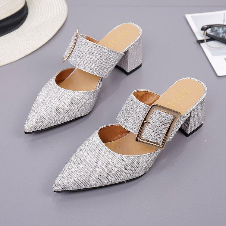 Ban Tuo Xie Block Heel Pointed Nv Chun 20189 New Style Fashion Sandals Outer Wear Closed-Toe High Heels Belt Buckle A-Line Cold By Taobao Collection.