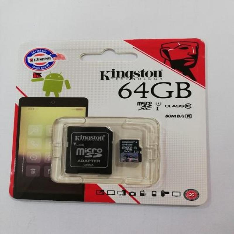 Thẻ nhớ 64GB Micro SDHC Kingston Class 10 UHS-I 80MB/s + Adapter (Hàng chính hãng)