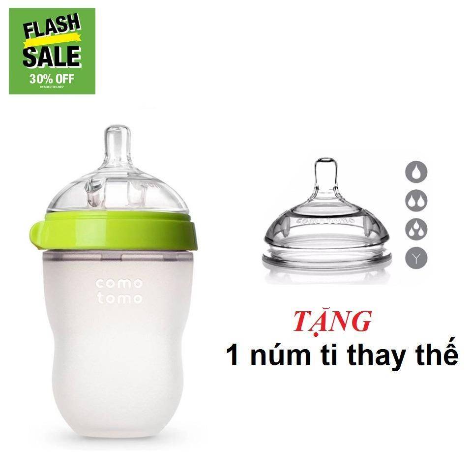 Giá Bán Binh Sữa Comotomo 250Ml Xanh Tặng 1 Num Thay Thế Comotomo