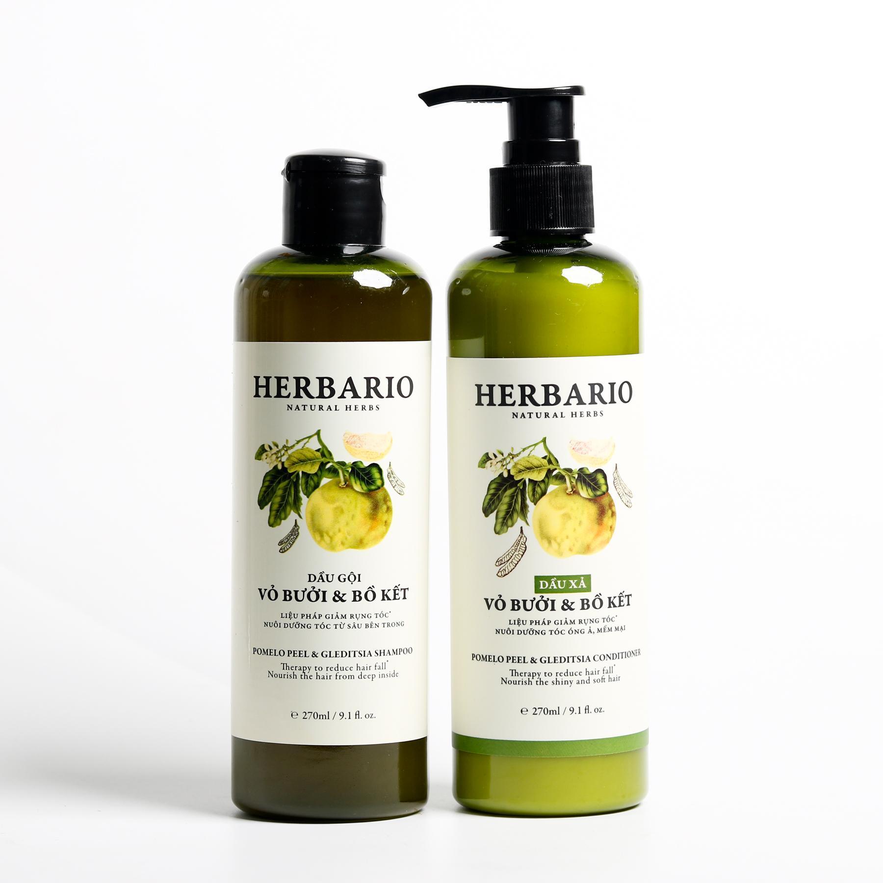 Combo DẦU GỘI và DẦU XẢ vỏ bưởi và bồ kết Herbario 270ml x 2 giúp chăm sóc tóc nhập khẩu