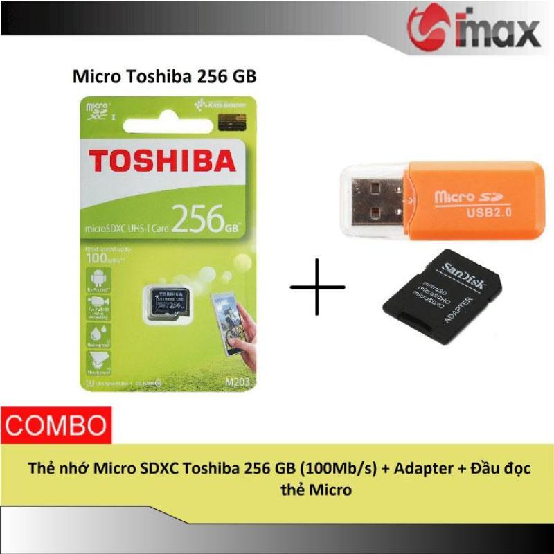 Thẻ nhớ Micro SDXC Toshiba 256 GB (100Mb/s) + Adapter + Đầu đọc thẻ Micro