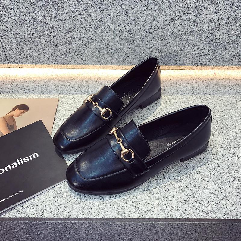 3754c9e1a386 Loafers Female 2019 Spring New Style Shoes Female Flat Korean Style England  Black Small Leather Shoes