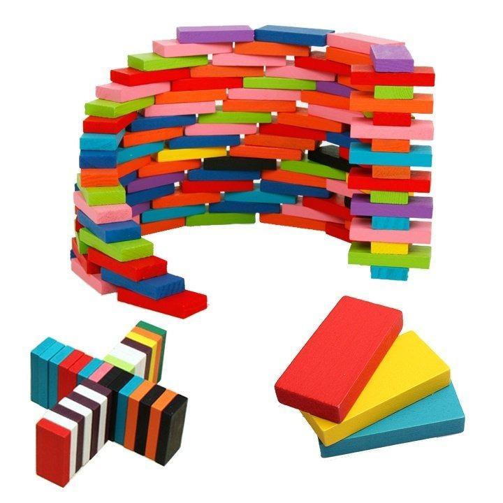 Hình ảnh Bộ đồ chơi 120 quân Domino bằng gỗ nhiều màu sắc
