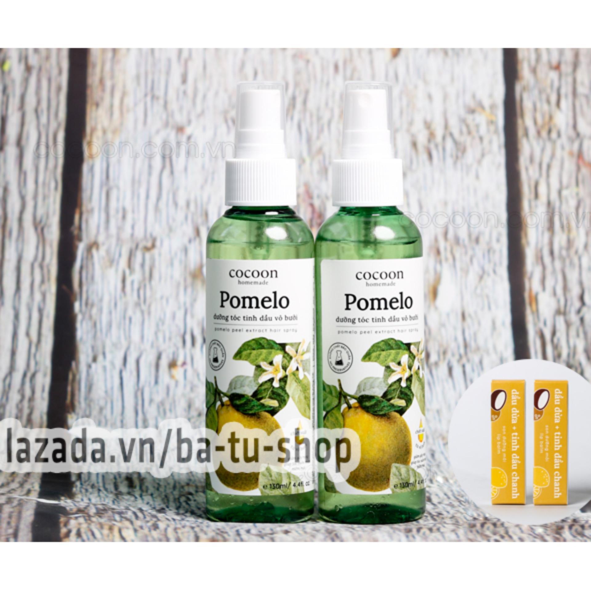 Hình ảnh Bộ 2 chai xịt bưởi ngăn rụng tóc Pomelo Cocoon tặng ngay 2 son dưỡng môi Lip Care