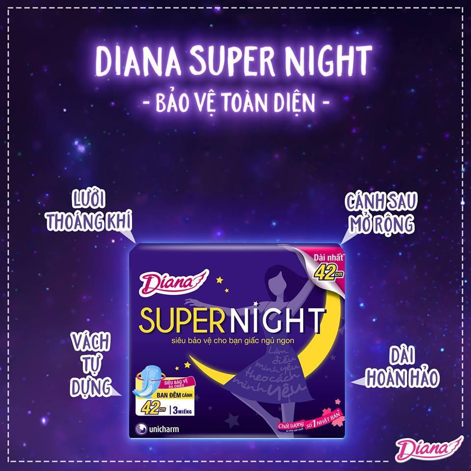 Băng vệ sinh ban đêm Diana Super Night 42 cm nhập khẩu