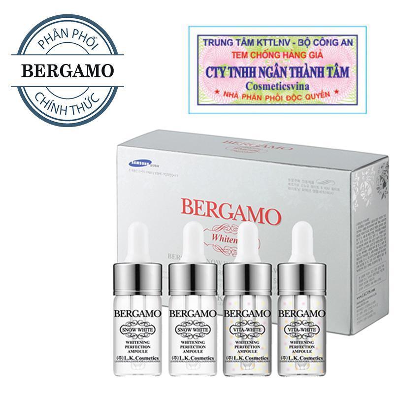 Set 4 siêu tinh chất dưỡng trắng Bergamo Snow White & Vita-White Whitening Perfection Ampoule 4 lọ ( HÀNG CHÍNH HÃNG ) nhập khẩu