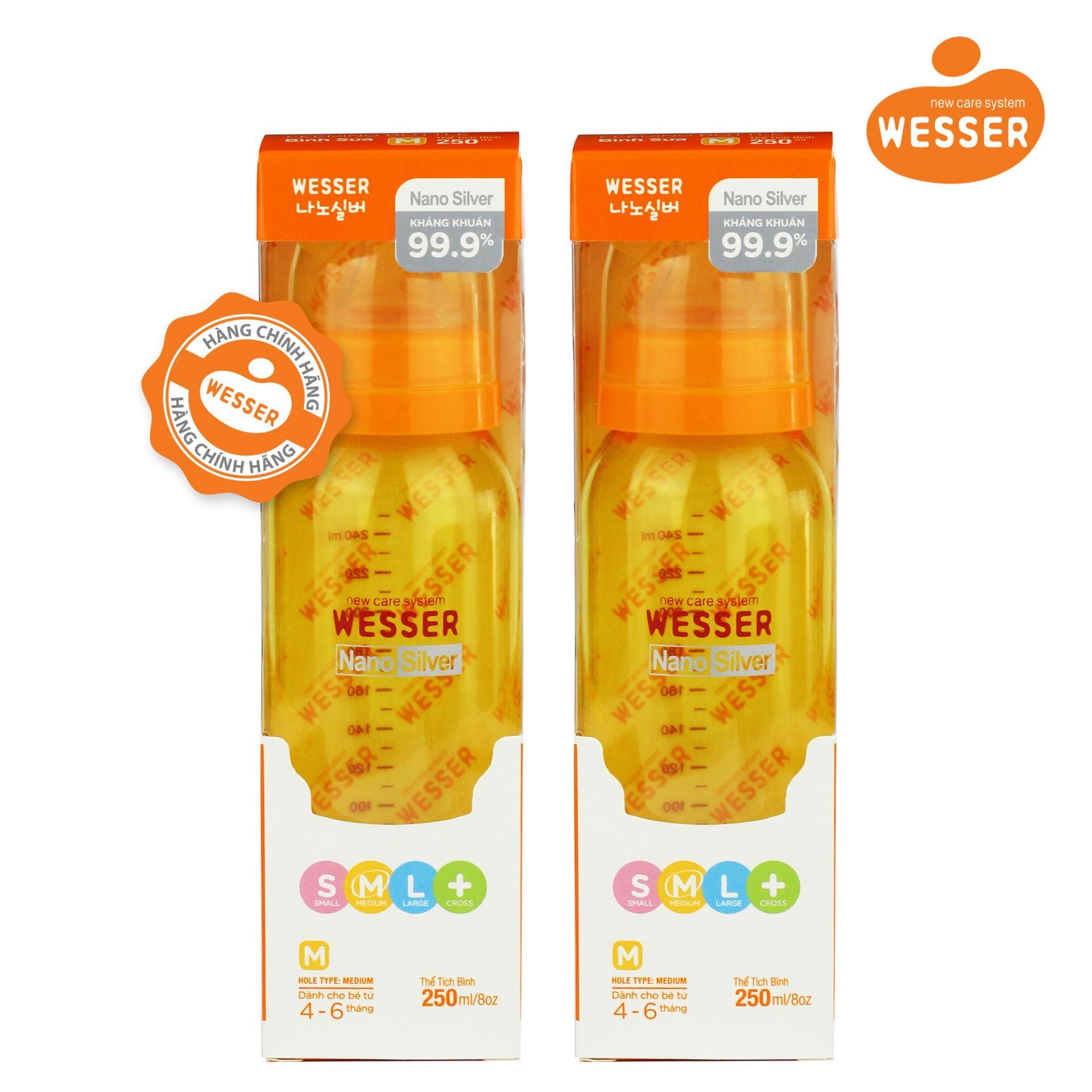 Giá Bán Bộ 2 Binh Sữa Wesser Nano Silver Cổ Hẹp 250Ml Mau Vang Nguyên