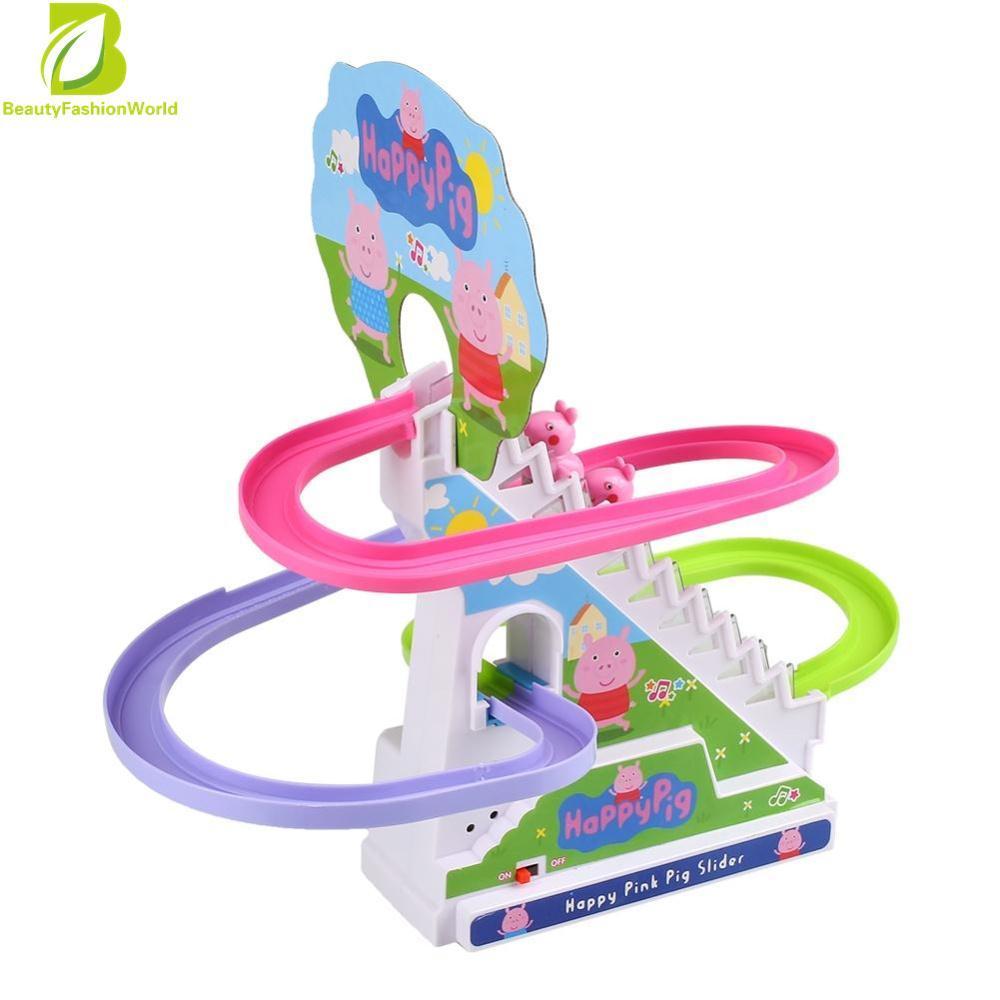 Hình ảnh Peppa Pig Amusement Electric Climb Stairs Classic Track Set Toy For Kid - intl