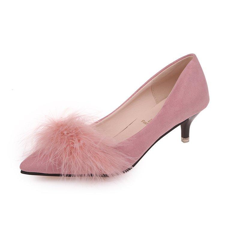 Sepatu Hak Tinggi Musim Gugur Wanita Suede, Sepatu Lancip, Wanita Sepatu Dangkal, medium