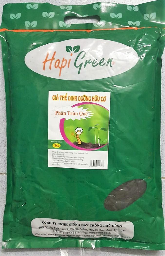 Hình ảnh Giá Thể Dinh Dưỡng Hữu Cơ PHÂN TRÙN QUẾ Hapi Green Phú Nông - KLT 2kg