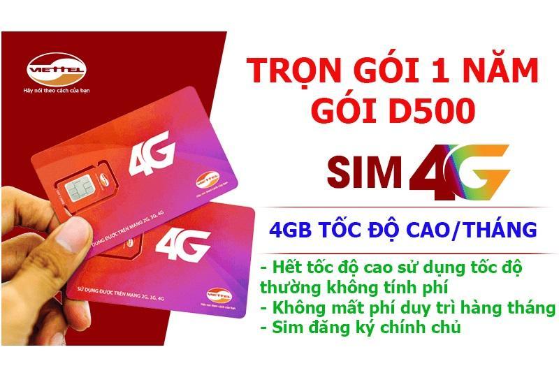 Mua Sim 4G Viettel Trọn Goi 1 Năm 4Gb Thang Goi Cước D500 Viettel 4G Nguyên