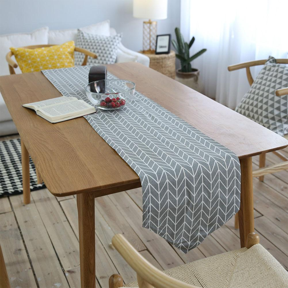 Simple Modern Style Linen Geometric Arrow Table Runner Mat Table Flag Placemat  for Home Decorative Party Tea Table Cloth Cover