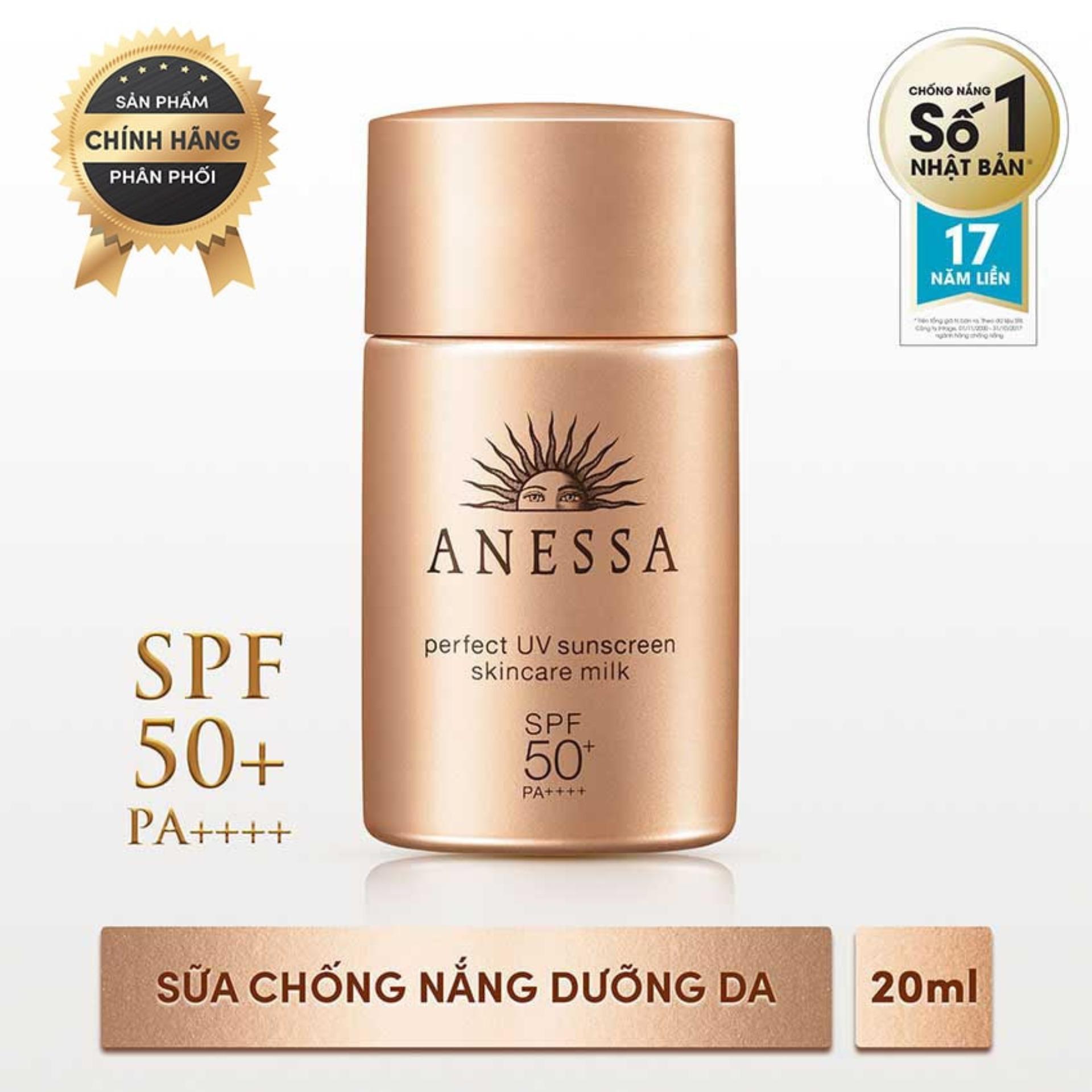 Hình ảnh Sữa chống nắng bảo vệ hoàn hảo Anessa Perfect UV Sunscreen Skincare Milk - SPF 50+, PA++++ - 20ml