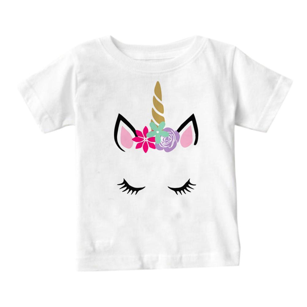 Stylish Parent-child Outfits Women Kids Short-sleeve T-Shirt Baby Romper Birthday Festival Gift