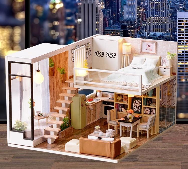 Mô hình gỗ tự lắp ráp DIY Penthouse 1