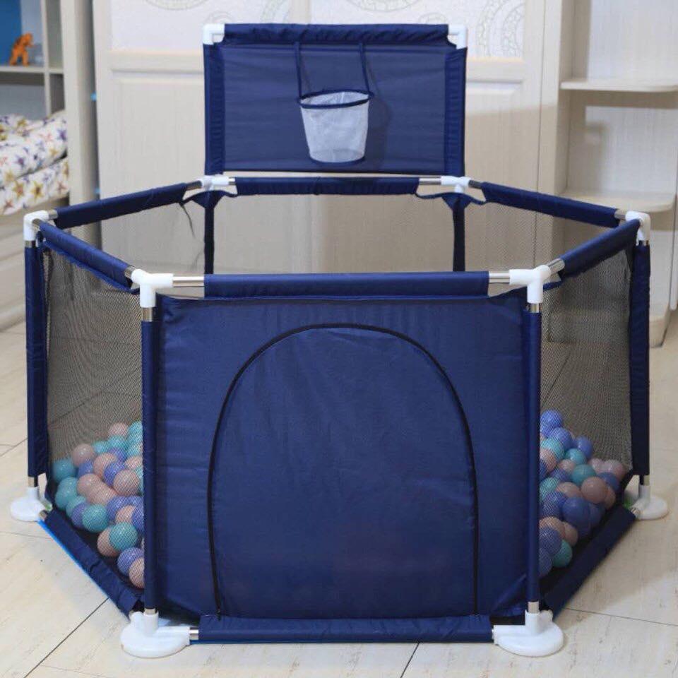 Hình ảnh Cũi quây bóng khung inox chắc chắn an toàn cho bé (xanh dương)